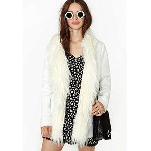 Nasty Gal Almost Famous Faux Fur White Coat NWT